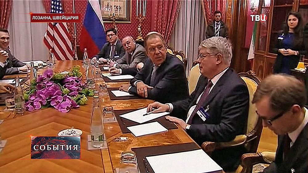 Сергей Лавров на встрече в Лозанне