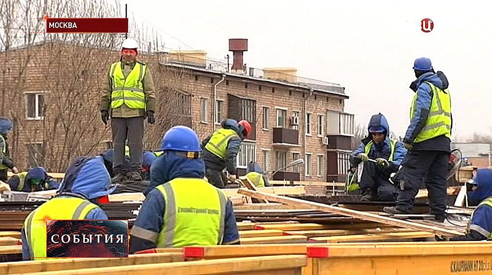 Строительство экстакады на пересечении Волоколамского шоссе