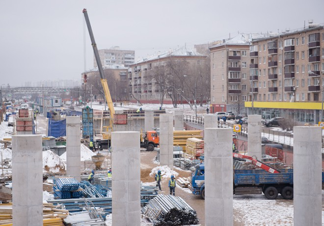 Строительство эстакады на Волоколамском шоссе