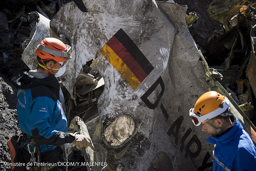 На месте падения Airbus А320 авиакомпании Lufthansa