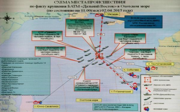 """Схема места происшествия по факту крушения морозильного траулера """"Дальний Восток"""" в Охотском море"""