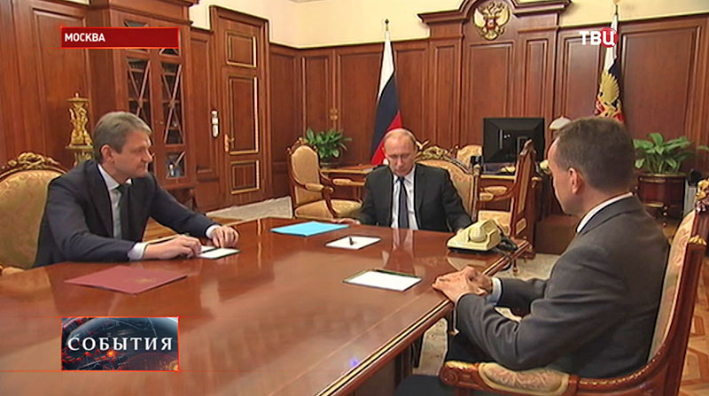 Президент России Владимир Путин и губернатор Краснодарского края Александр Ткачев