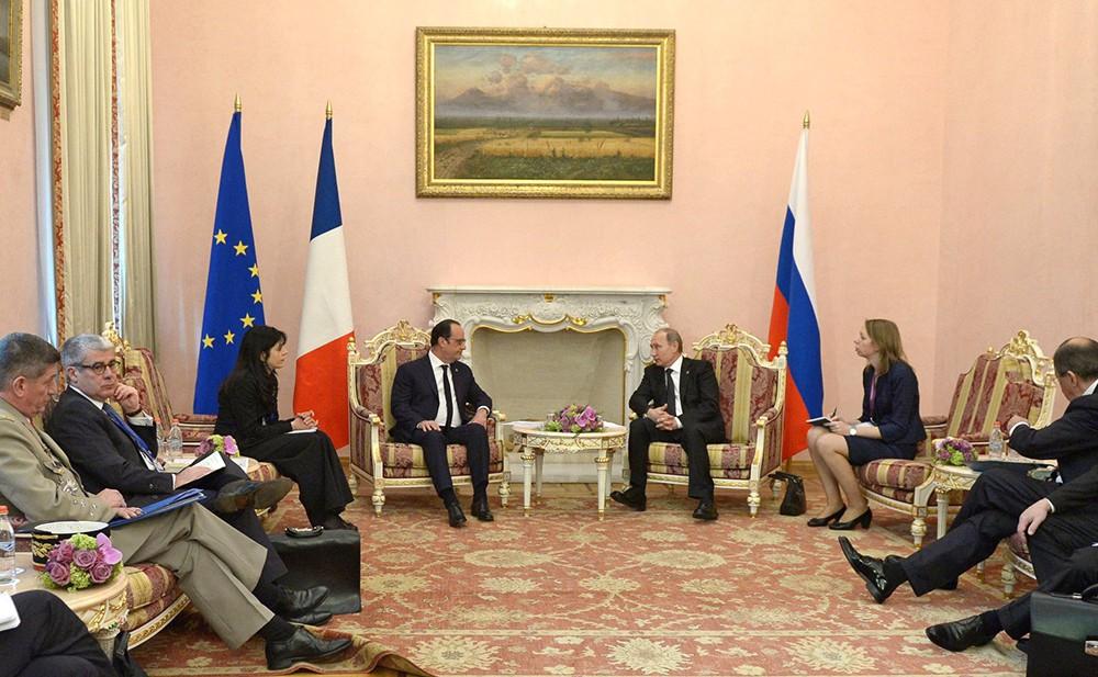 Встреча президента Франции Франсуа Олланда и президента России Владимира Путина