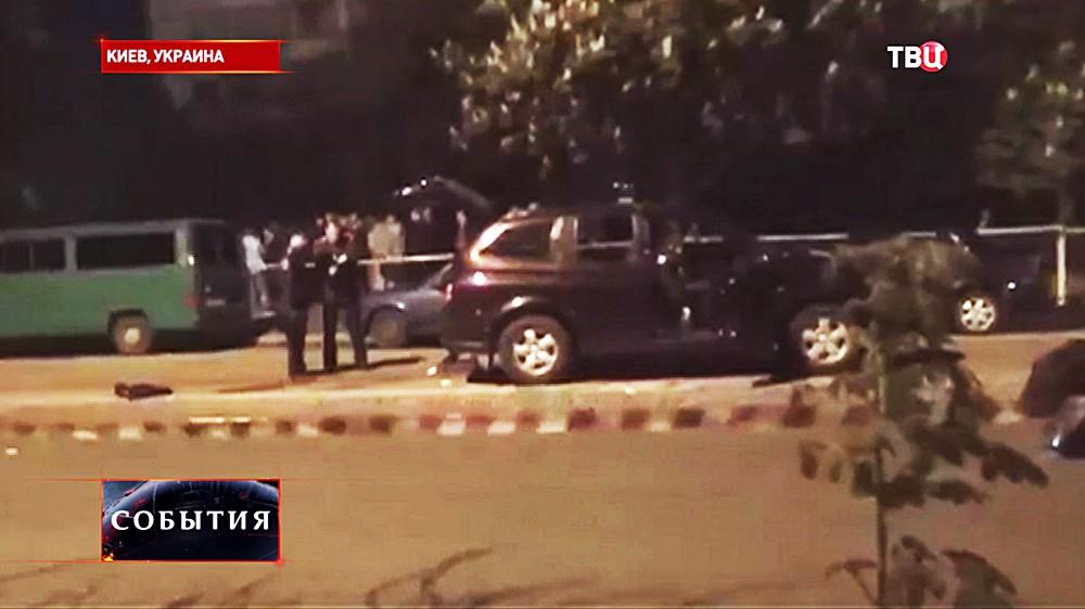 Место расстрела милиционеров в Киеве