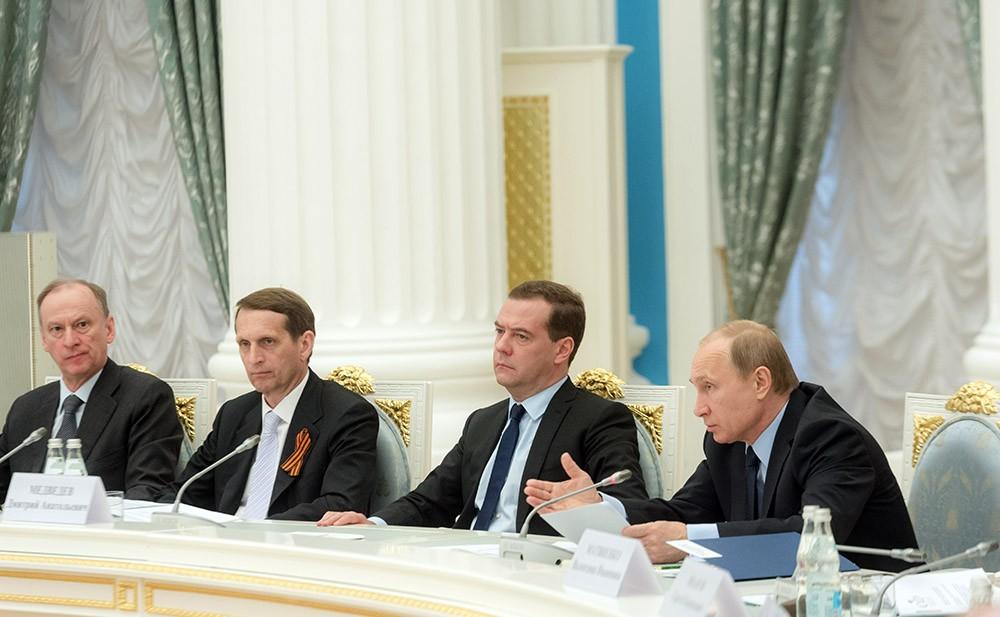 Николай Патрушев, Сергей Нарышкин, Дмитрий Медведев и Владимир Путин
