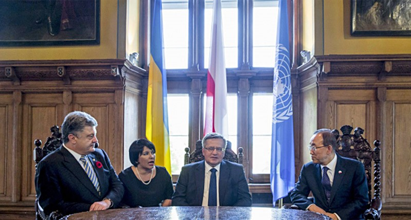 Трехсторонняя встреча президента Украины Петра Порошенко, главы Польши Бронислава Коморовского и генсека ООН Пан Ги Муна