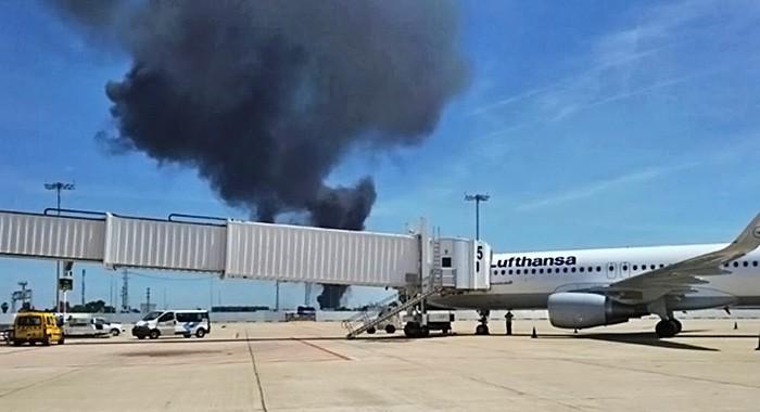 Место падения самолёта в Испании