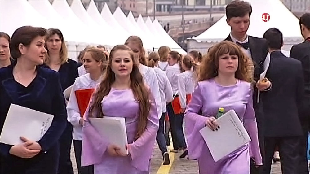 Подготовка к концерту на Красной площади