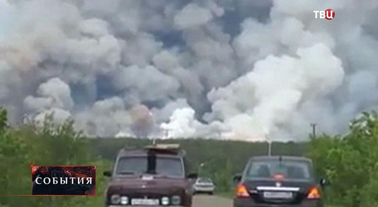 Последствия пожара в артиллерийских складах в башкирском посёлке Урман