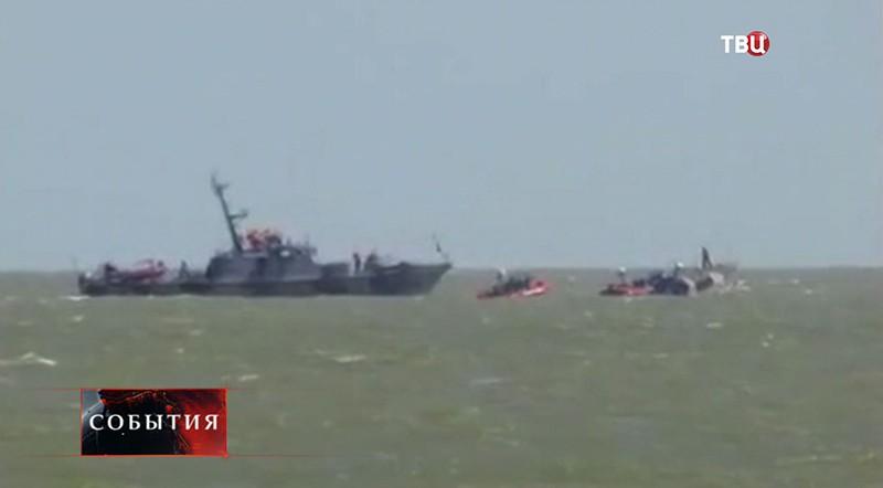 На месте взрыва украинского катера в Мариуполе
