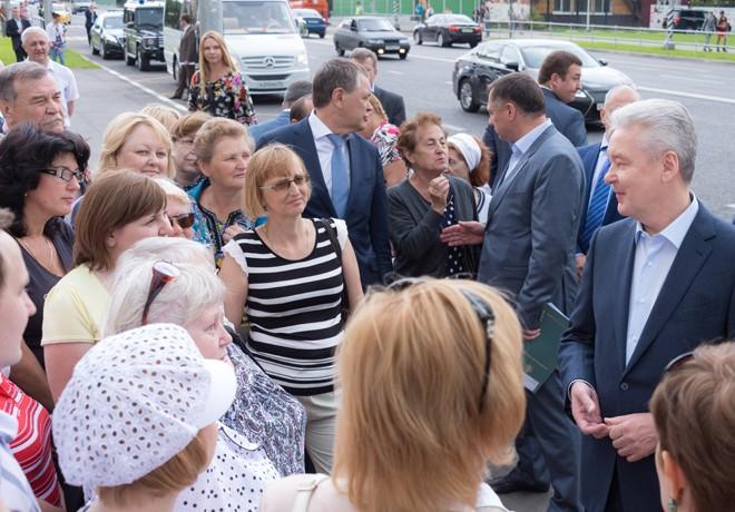 Сергей Собянин на открытии новой дороги