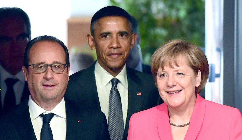 Франсуа Олланд, Барак Обама, Ангела Меркель