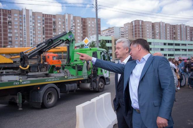 Сергей Собянин новой эстакаде на пересечении Варшавского шоссе