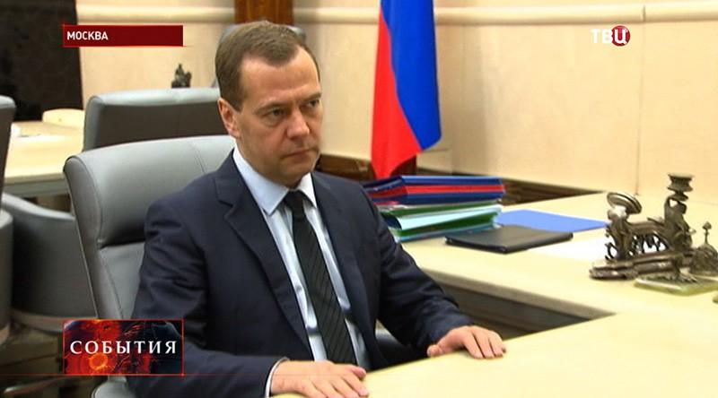 Дмитрий Медведев на встрече с председатель правления ВТБ Андрей Костин