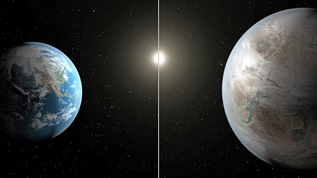 Планета Земля и планета Kepler 452b