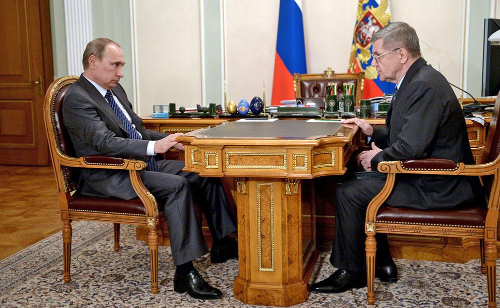 Президент России Владимир Путин и Генеральный прокурор Российской Федерации Юрий Чайка