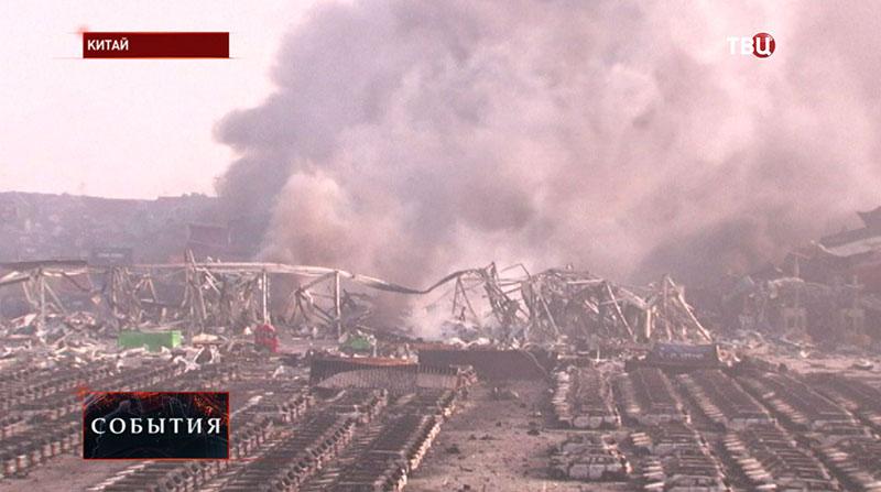 Последствия взрыва на складе в Китае