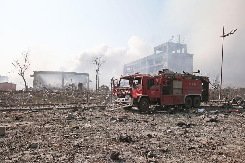 Последствия пожара на складе в Китае