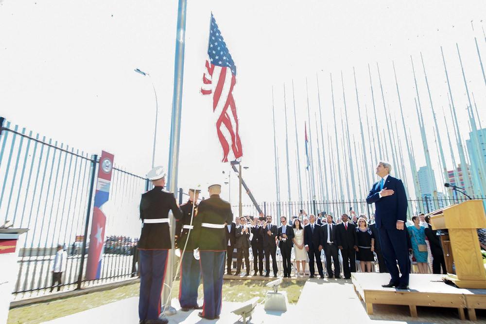 Госсекретарь Джон Керри на открытии посольства США на Кубе