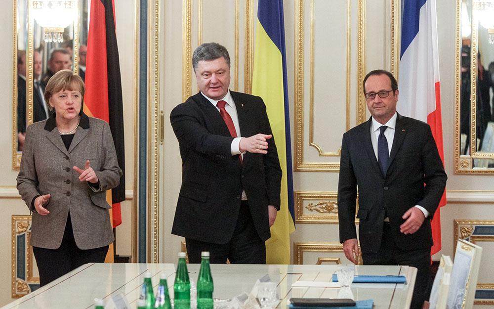 Ангела Меркель, Пётр Порошенко и Франсуа Олланд