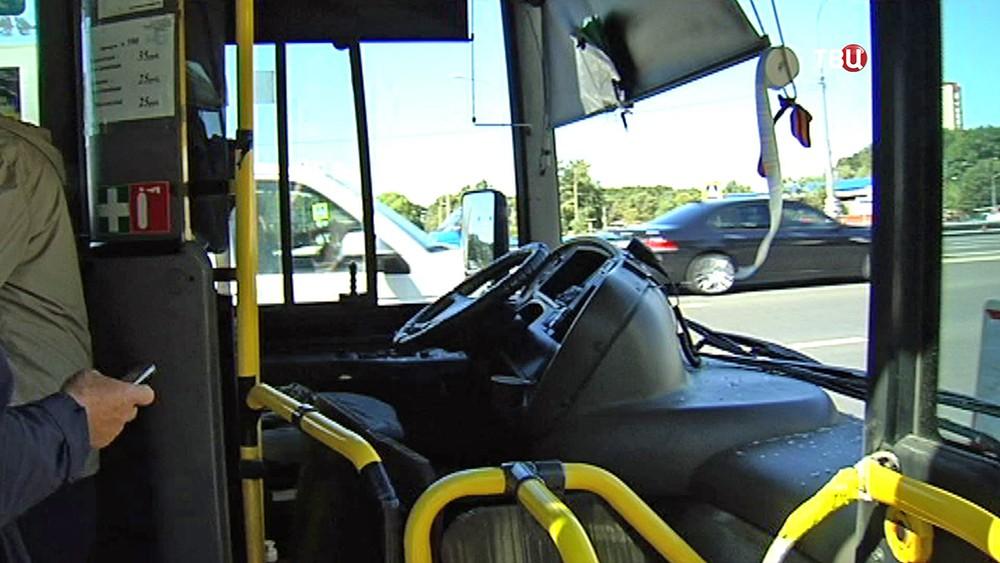 Салон автобуса после ДТП