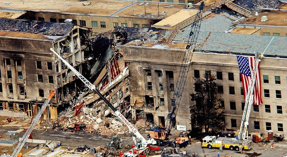 Последствия теракта в здании Пентагона 11 сентября