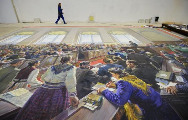 """Картина Александра Герасимова, найденная в ходе противоаварийных работ цокольного этажа павильона №1 """"Центральный"""" на ВДНХ, во время реставрации"""
