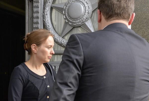Посол Польши в Москве Катажина Пелчинска-Наленч выходит из здания МИД России
