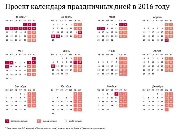 Проект календаря праздничных дней в 2016 году