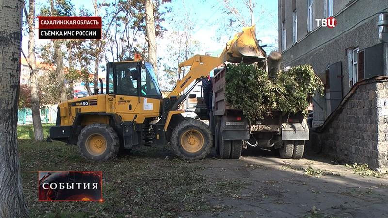Последствие урагана в Сахалинской области