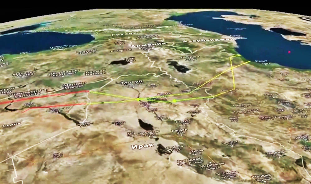 Траектория полёта ракет по позициям ИГ в Сирии