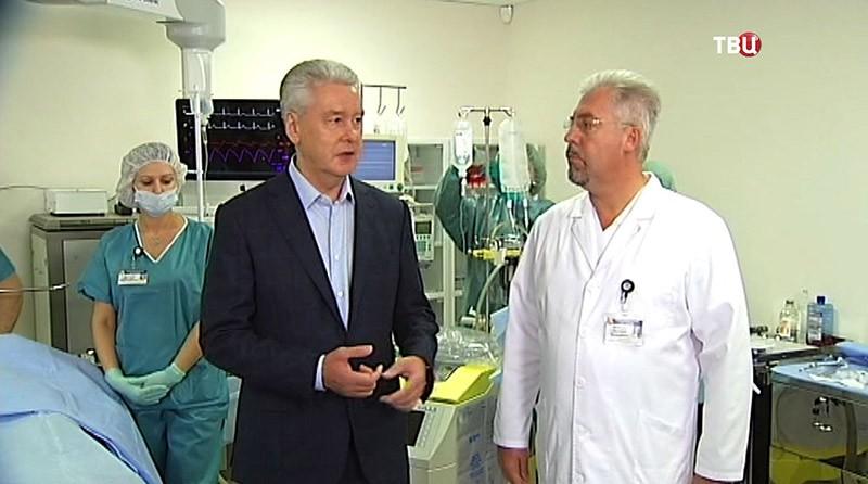 Сергей Собянин в новом учебном центре в московской Боткинской больнице