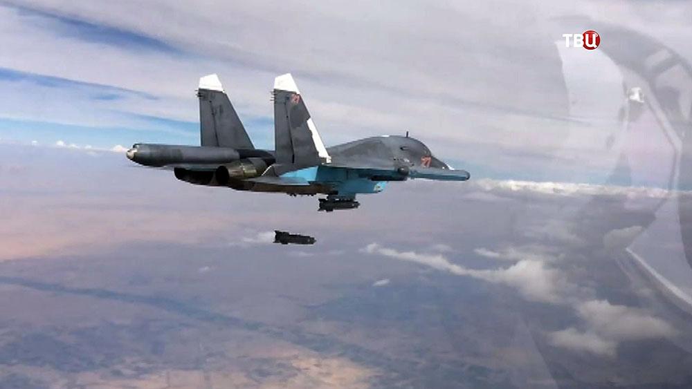 Авиаудар истребителя Су-34 авиационной группировки ВКС России в Сирии
