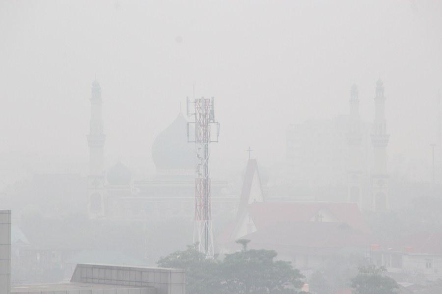 Смог от лесных пожаров в Индонезии