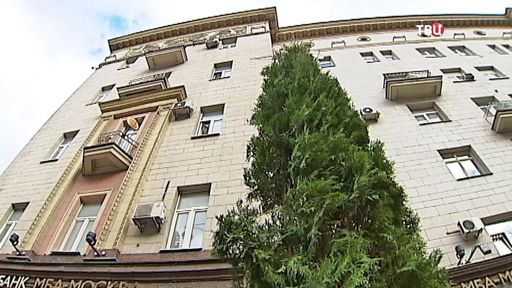 Высадка деревьев на Тверской улице