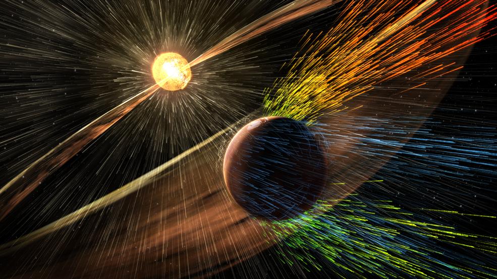 Модель влияния солнечного ветра на Марс