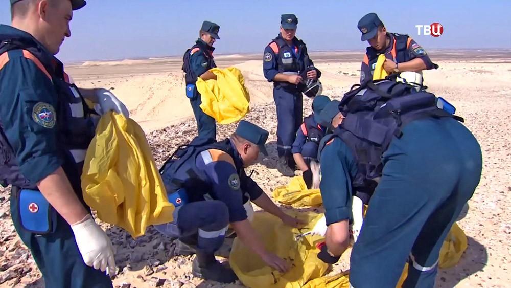 Спасатели МЧС России на месте крушения самолета Airbus A321