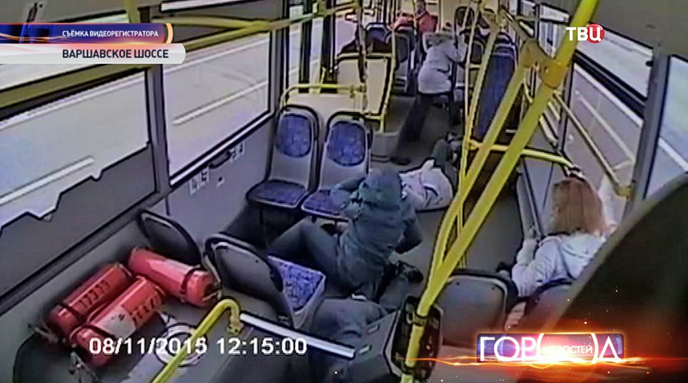 Пострадавшие пассажире в автобусе