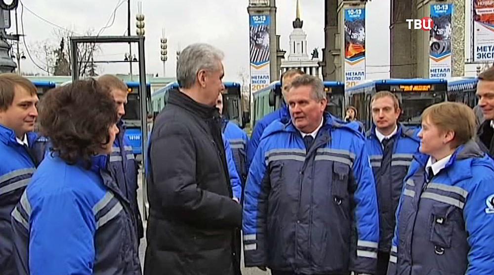 Сергей Собянин общается с водителями междугородных автобусов