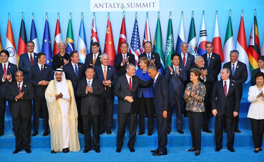 Участники саммита G20 в Турции