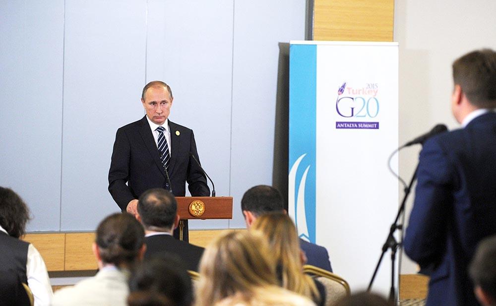 Президент России Владимир Путин во время пресс-конференции по итогам саммита G20