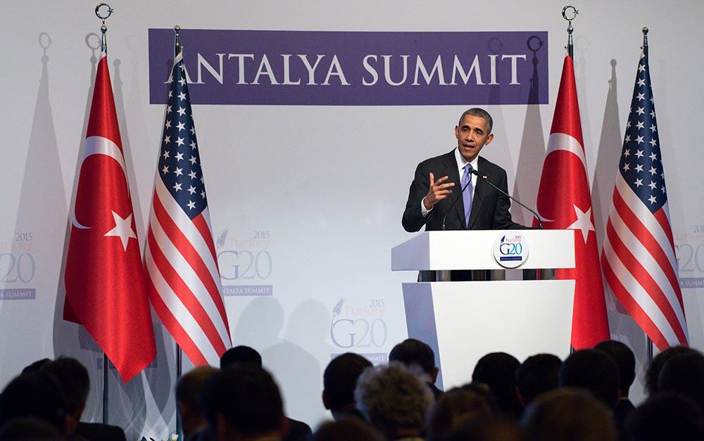 Президент США Барак Обама на саммите G20 в Турции