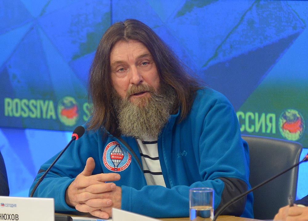"""Путешественник Федор Конюхов на пресс-конференции, посвященной планируемому одиночному беспересадочному кругосветному полету на воздушном шаре """"Мортон"""""""