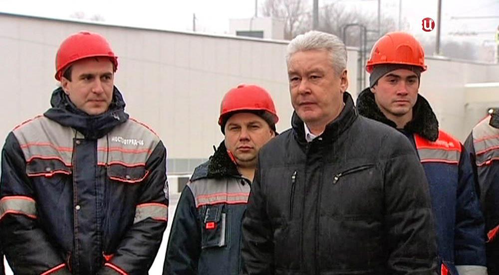 Сергей Собянин у тоннеля на Большой Академической улице