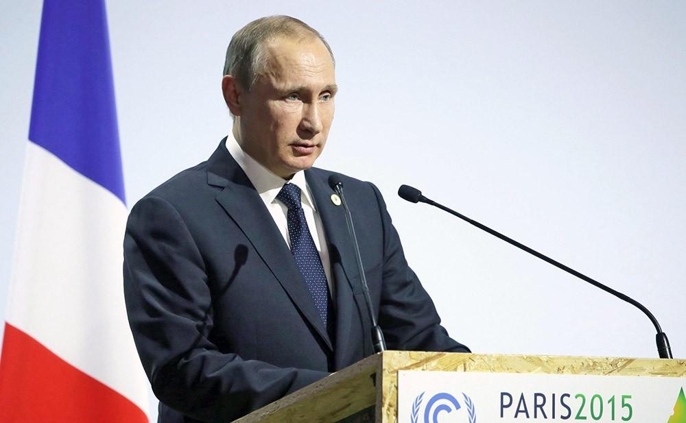 Президент России Владимир Путин выступает на Климатическом саммите в Парижез