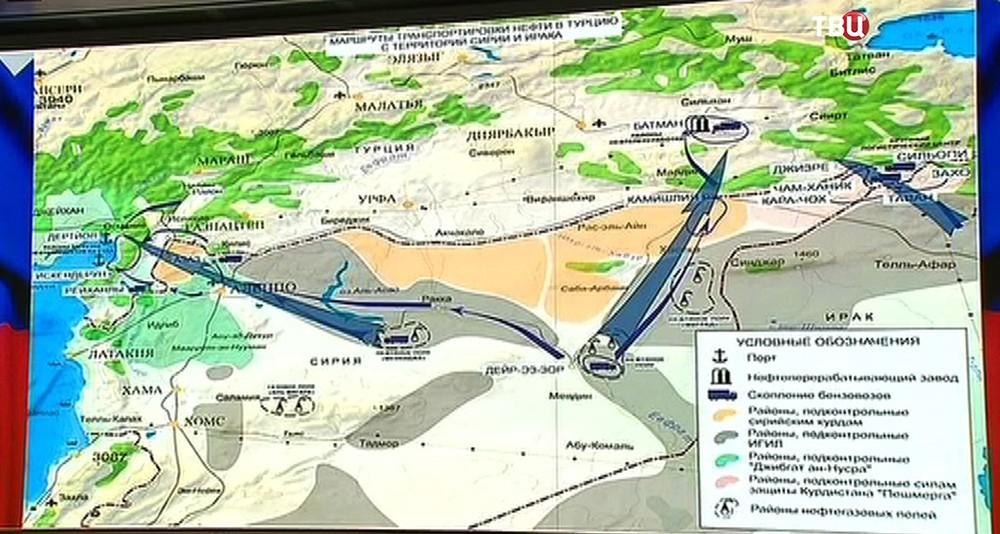 Направления транспортировки сирийской нефти бензовозами