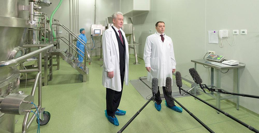 Сергей Собянин на открытии производства жизненно-важных лекарств