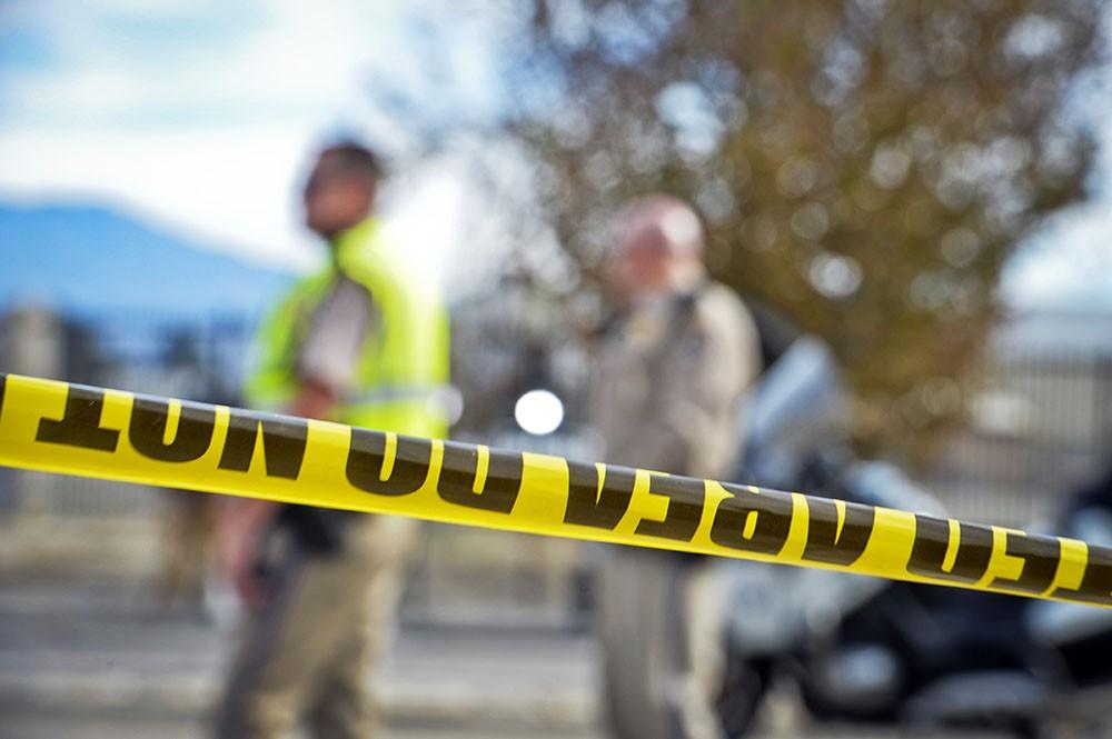 Полицейское оцепление на месте происшествия в США