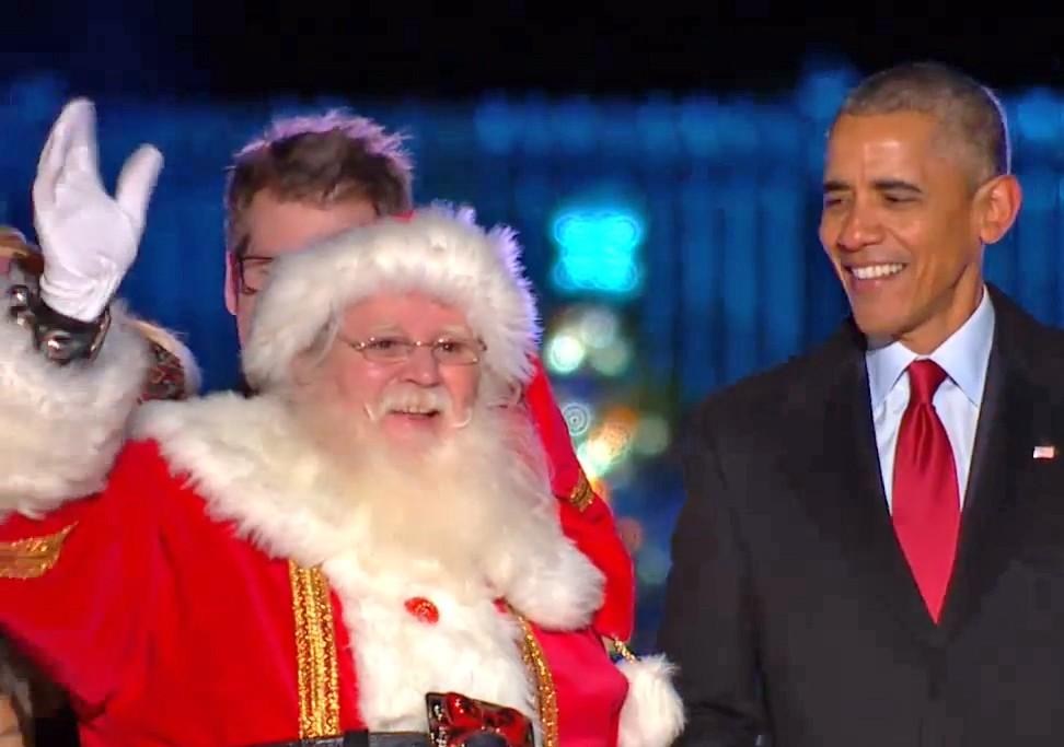 Президент США Барак Обама и Санта Клаус