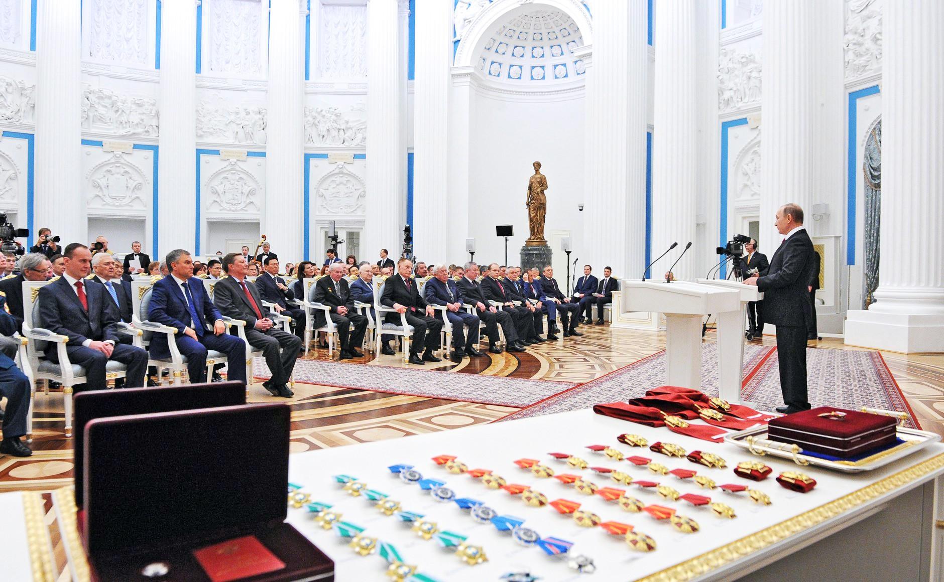 Церемония вручения госнаград в Кремле
